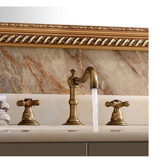 Classic Antique Brass Bathroom Basin Faucet Widespread Vanity Sink Mixer Tap in Home & Garden, Home Improvement, Plumbing & Fixtures | eBay