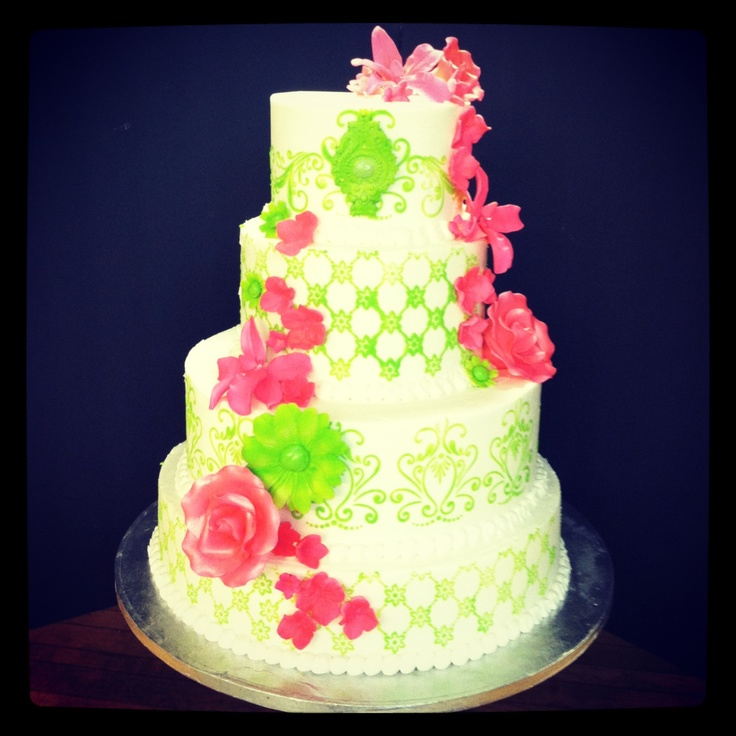 lime green and pink wedding cakes pink and lime green wedding cake sweetdesigns 16900