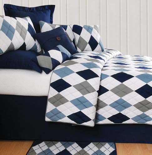 Navy And White Bedding The Argyle Blue Collection