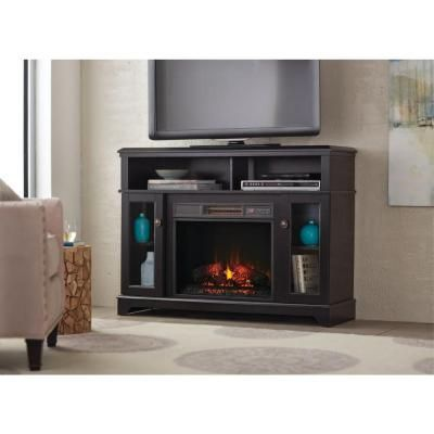 48 in media console electric fireplace in black home decorators