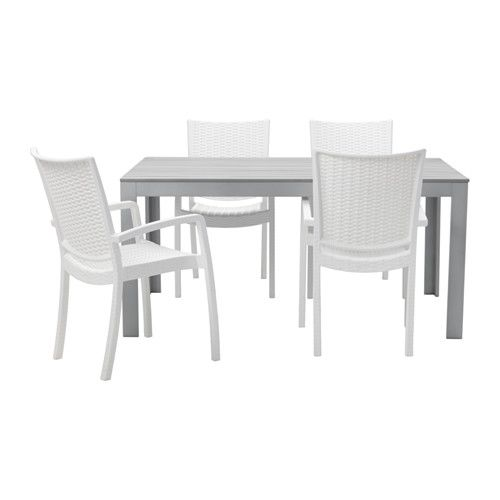 ikea falster innamo table 4 chairs w armrests outdoor grey white outdoor area. Black Bedroom Furniture Sets. Home Design Ideas