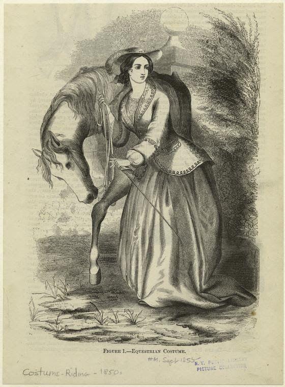 Equestrian Costume. Harper's Magazine, 1855. NYPL Digital Gallery.