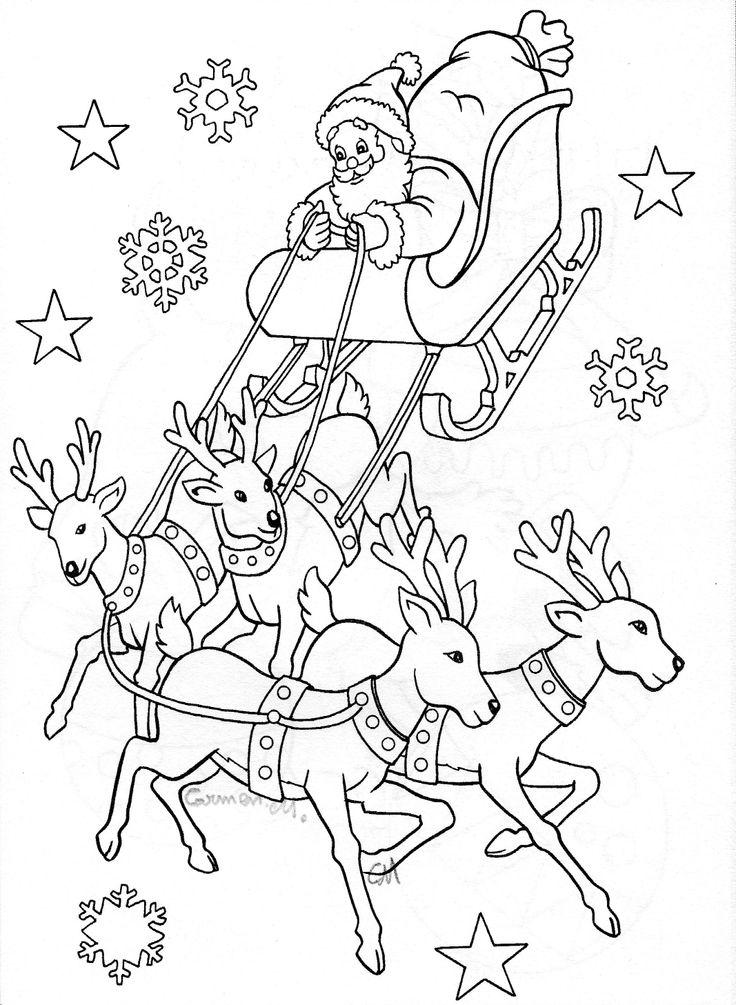 Santa Sleigh Drawing Art Pinterest