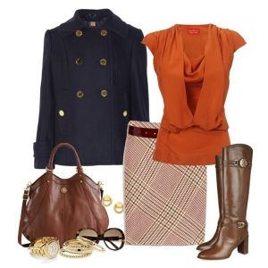 С чем носить коричневые сапоги: клетчатая юбка и рыжая блузка