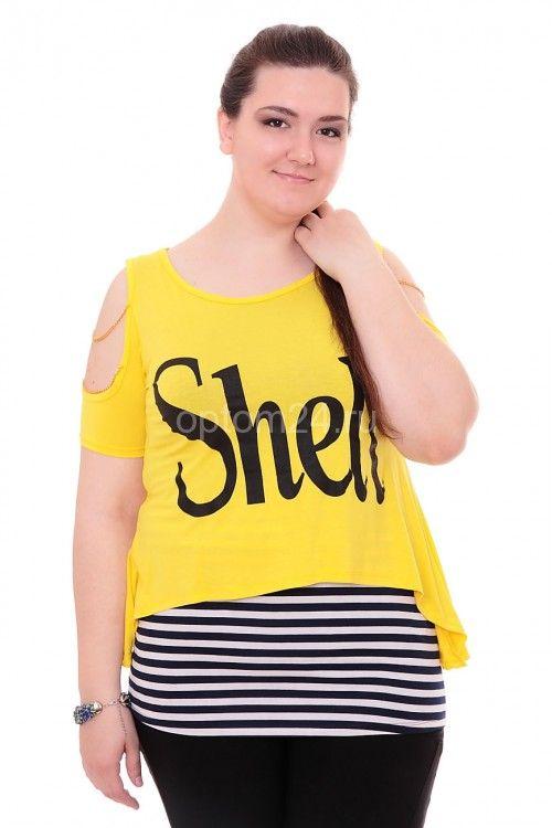 "Туника желтая ""Shell"" А7886 Размеры: 42-52 Цена: 600 руб.  http://optom24.ru/tunika-zheltaya-shell-a7886/  #одежда #женщинам #туники #оптом24"