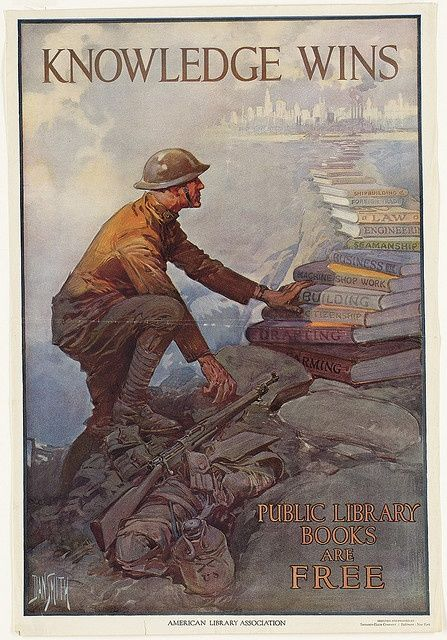 """Artist: Dan Smith, 1865-1934. The ALA produced this poster in 1918 as a part of its """"Books for Sammies"""" campaign to send books books to soldiers. In WW I, the English called American soldiers """"Yanks"""" or """"Sammies"""" for Uncle Sam. Thousands of these posters were displayed in libraries and expanded the libraries' visibility and their role as community centers by participating in wartime initiatives."""