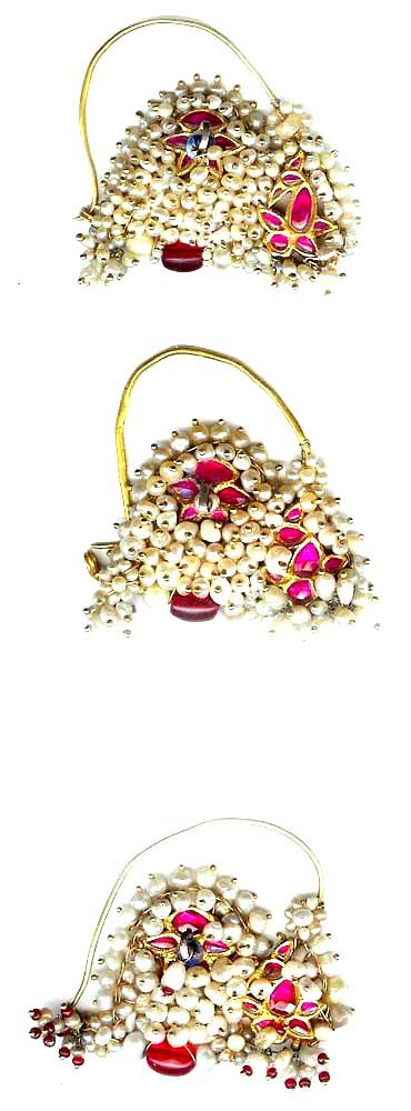 Pearls and rubies , nose rings, 22K 19th c Indian (Archives sold Singkiang)