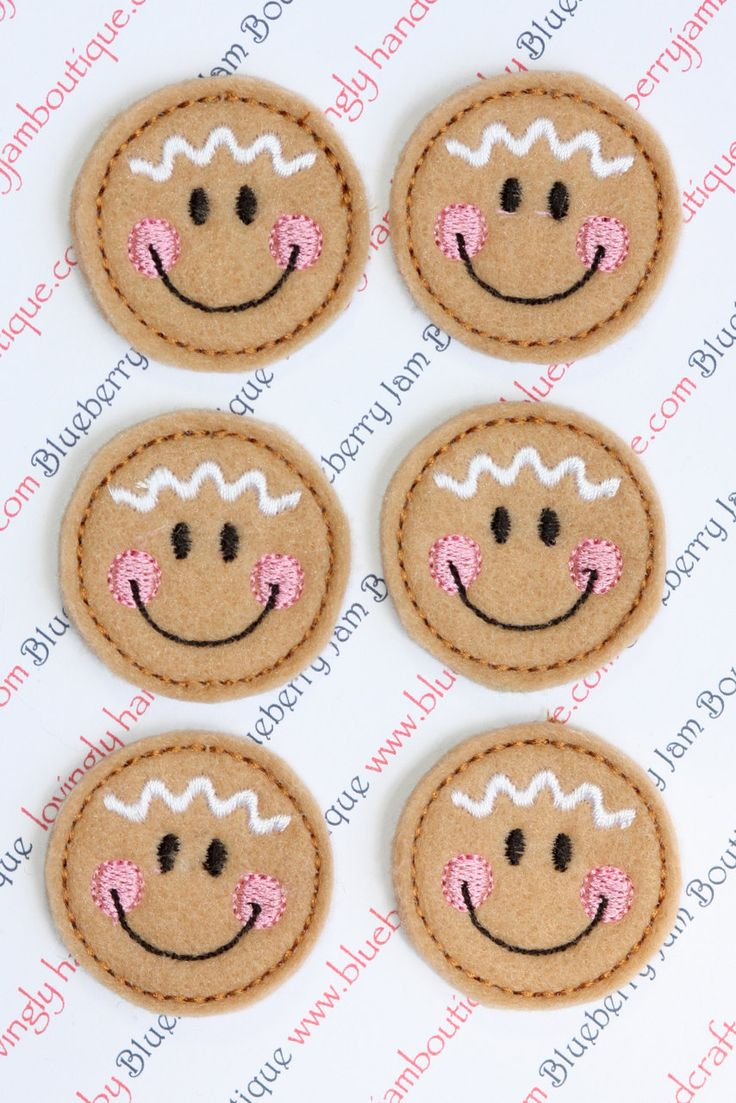 Embroidered Felt Gingerbread Girl Faces - Set of 6