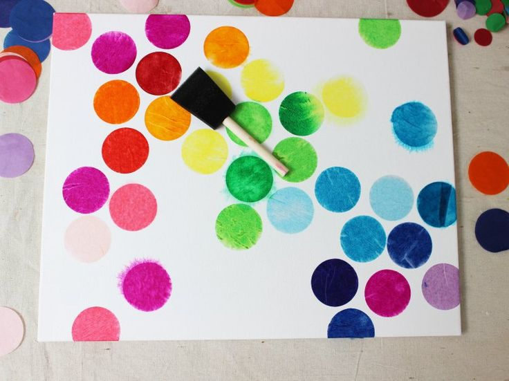 How to make a colorful tissue paper painting. A perfect crafts for kids this Summer!