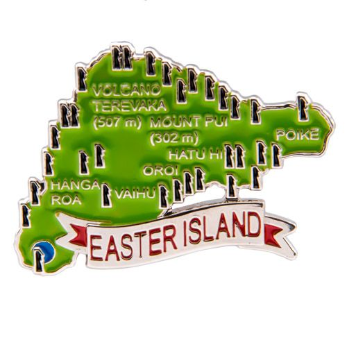 Metal Fridge Magnet: Chile. Map of Easter Island (Nickel Plating and Enamel)