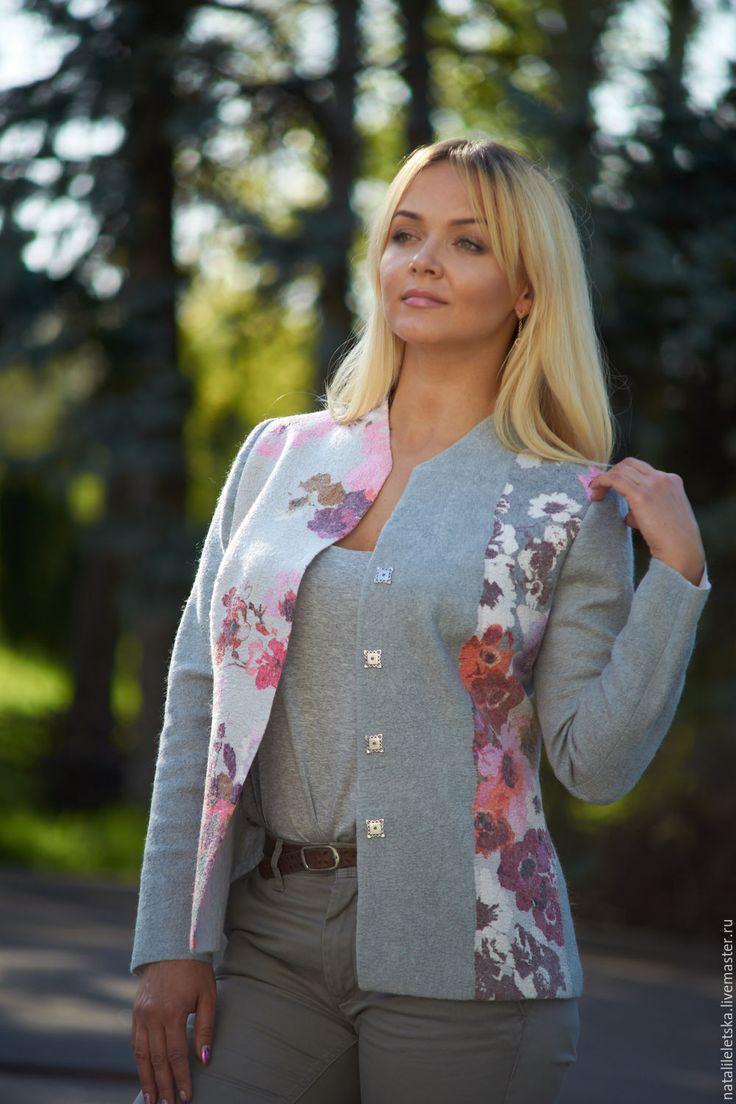 Купить Жакет Весна в городе-войлок - серый, жакет из войлока, жакет валяный, валяная одежда