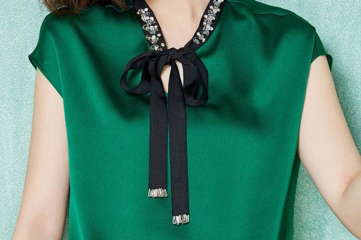2016 verão mulheres chiffon de seda do pescoço blusa manga curta blusa senhora…