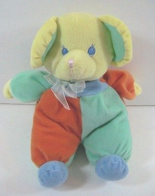 "BEAR Baby Lovey & Rattle Plush Appeal 9"" Multicolor Soft Toy B170"