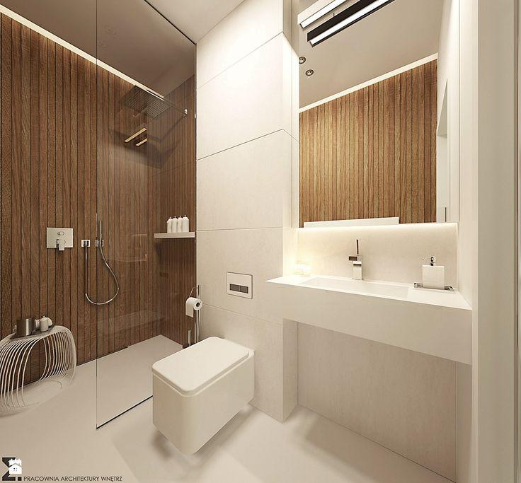 prysznic bez drzwi, biel+drewno
