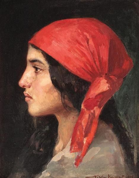 The Red Scarf, 1925 by Nicolae Vermont. Realism. portrait