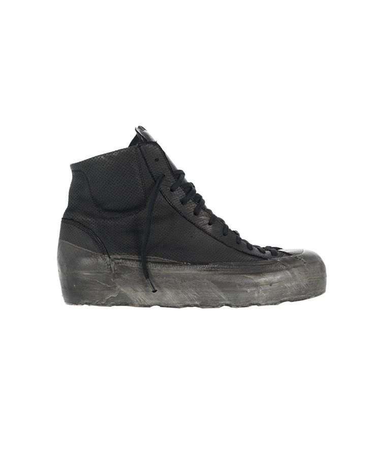O.X.S. RUBBER SOUL MEN'S LEATHER SNEAKERS Black leather sneakers worn out look round toe rubber sole inner zipper fabric lace-up closure