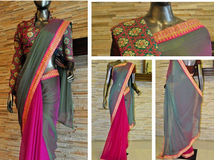 Magenta and green Chiffon  http://www.boutiqueamra.com/Designer/Magenta-and-Green-chiffon-id-549823.html