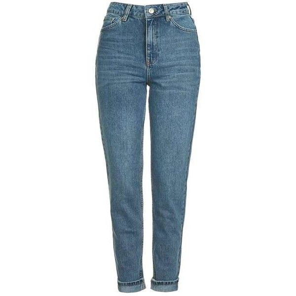 Topshop Moto Sulphur Indigo Mom Jeans ($49) ❤ liked on Polyvore featuring jeans, pants, calça, pantalones, topshop, high-waisted jeans, high rise skinny jeans, folded jeans, high rise jeans and cuffed skinny jeans