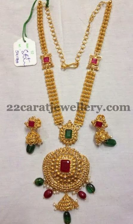 Jewellery Designs: Three Steps Long Set 54 Grams