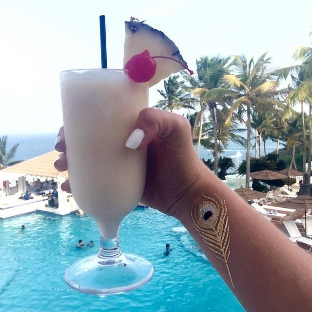 A refreshing pina colada paired with a view at El Conquistador in Puerto Rico.