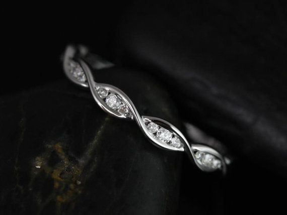 Ember 14kt White Gold Infinity Twist Diamonds Halfway Eternity Band (Other Metals Options Available) on Etsy, $525.00