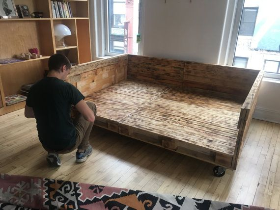 Industrial Pallet Daybed on Wheels Available in Queen King
