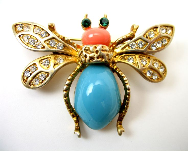 Kenneth Jay Lane Gold Green Bug Pin Green/gold