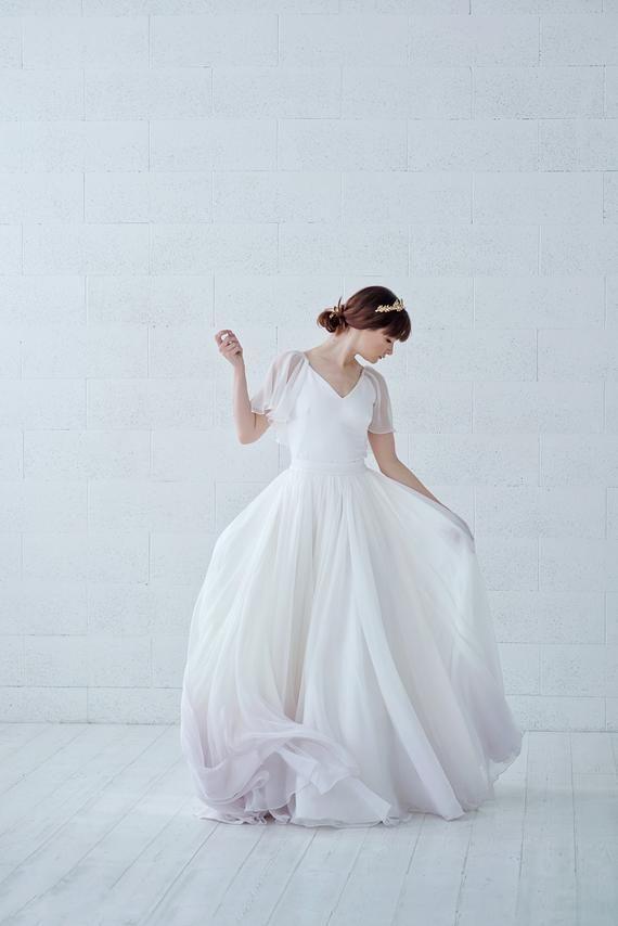 Tulia Cape Sleeves Chiffon Wedding Dress With Ombre Dip Dyed Wedding Dress Chiffon Wedding Dress With Pockets Wedding Skirt