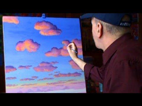 Pintar Nubes Con Acrilicos Leccion 2 de pintura arte - YouTube