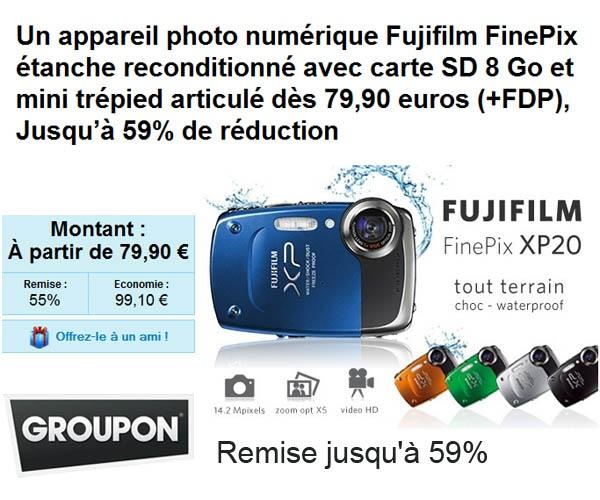 Appareil photo numérique Fujifilm FinePix XP20 étanche à moins de 90 euros frais inclus | Maxi Bons Plans