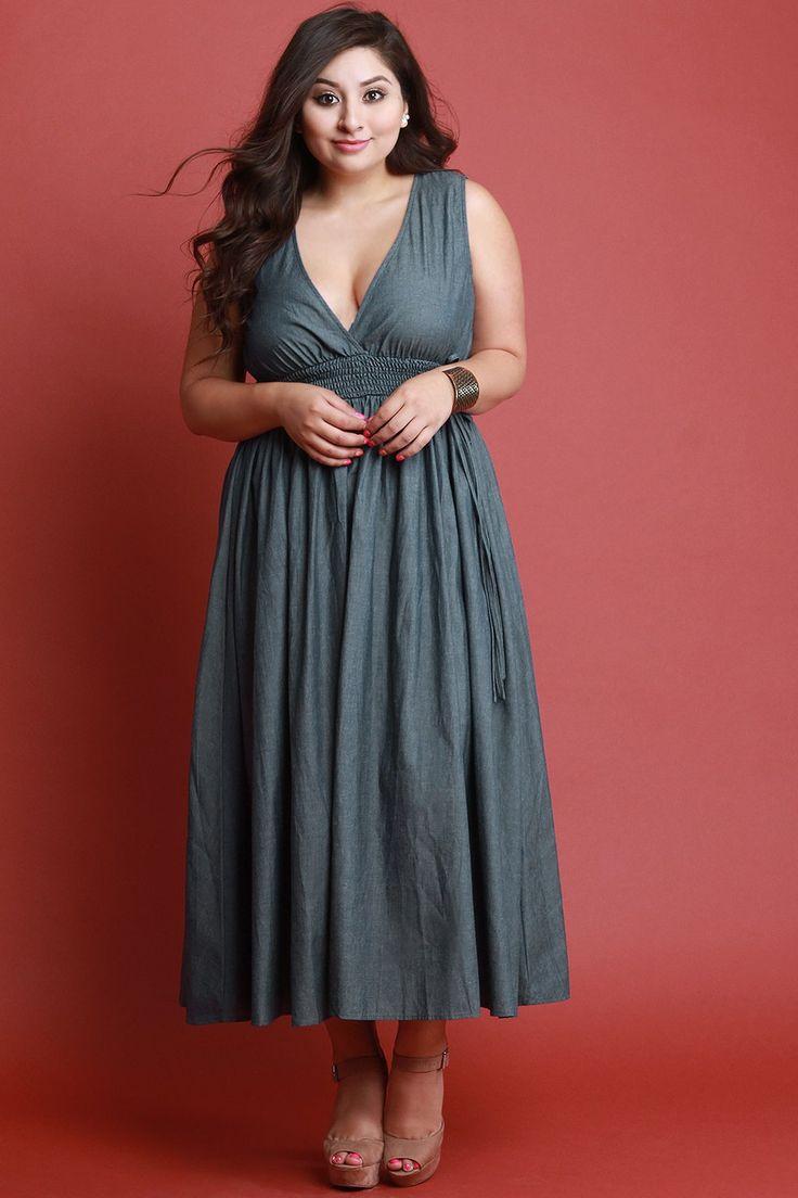 V Neck Smock Empire Waist Sleeveless Chambray Maxi Dress