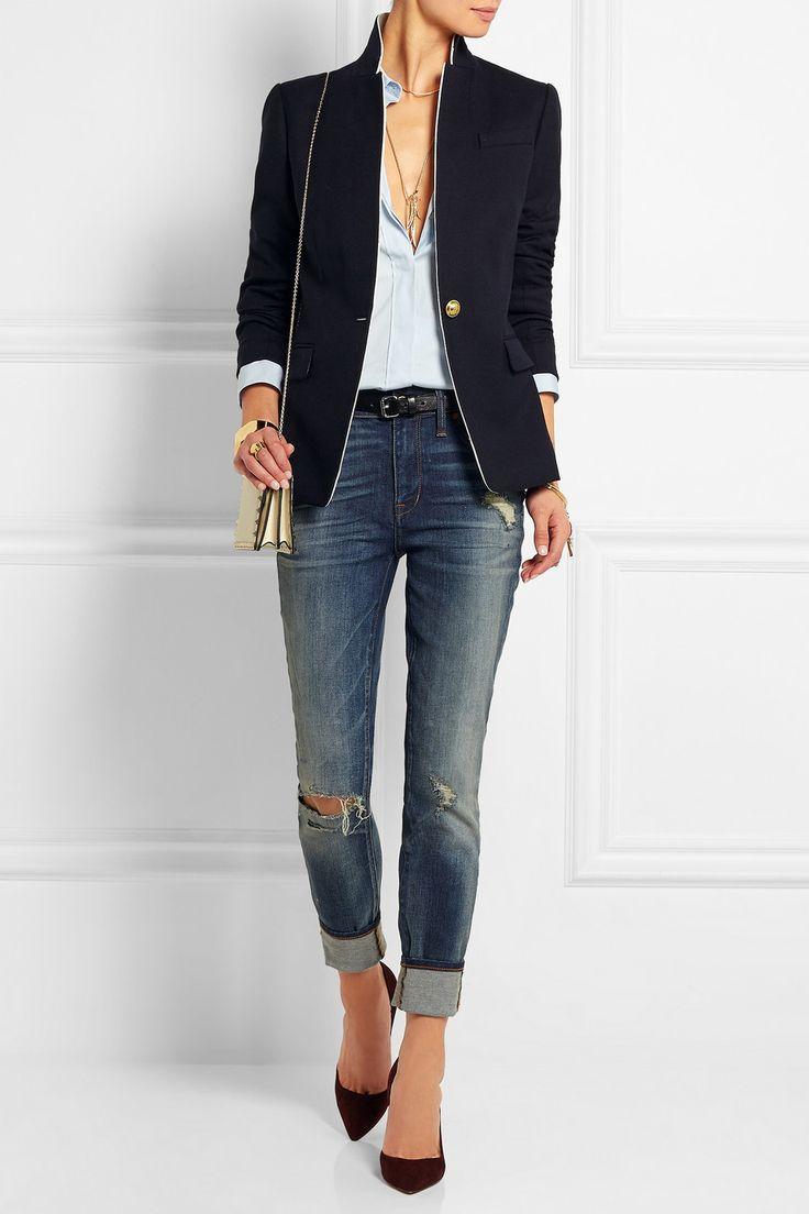 J.Crew | Regent satin-trimmed wool-blend twill blazer | NET-A-PORTER.COM