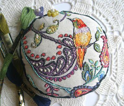 hummingbird pincushion, hand embroidered