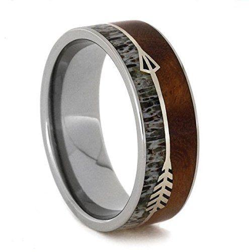 Silver Arrow Ring With Ironwood, Titanium Wedding Band, Deer Antler Ring