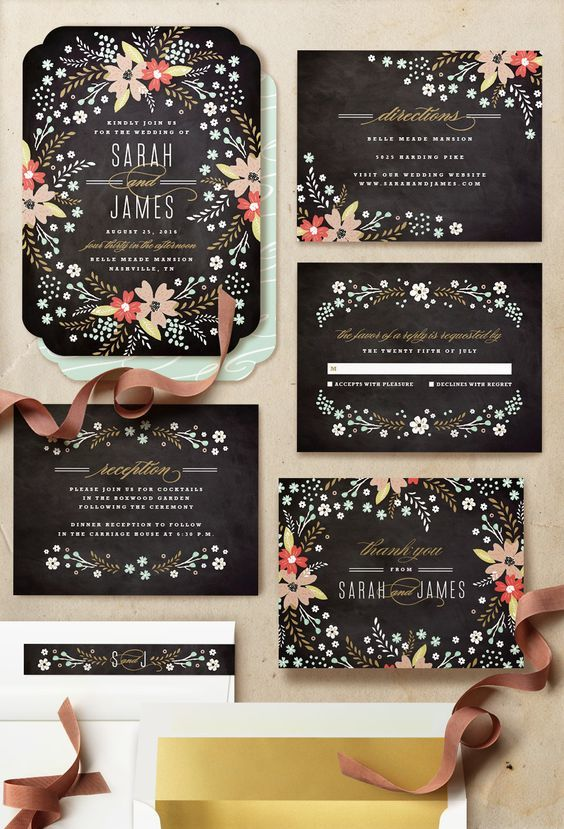chalkboard wedding invitations / http://www.deerpearlflowers.com/chalkboard-wedding-ideas/2/