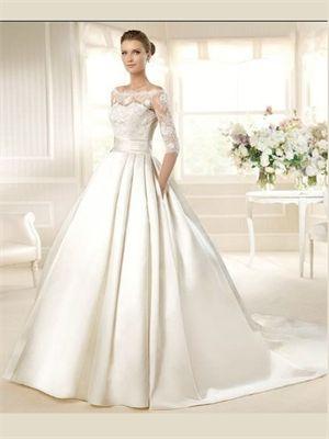 White Ball Gown Lace Satin Wedding Dress
