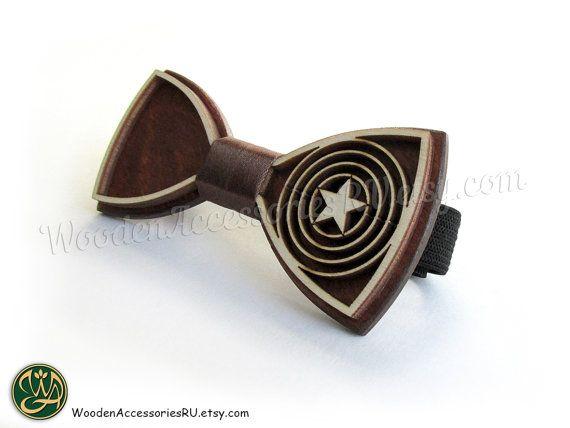Wood bow tie Captain America wooden unisex by WoodenAccessoriesRU