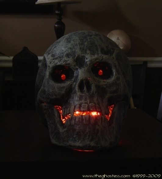 paper mache and glue led skull - this would look good in an ash pit, hot lava…