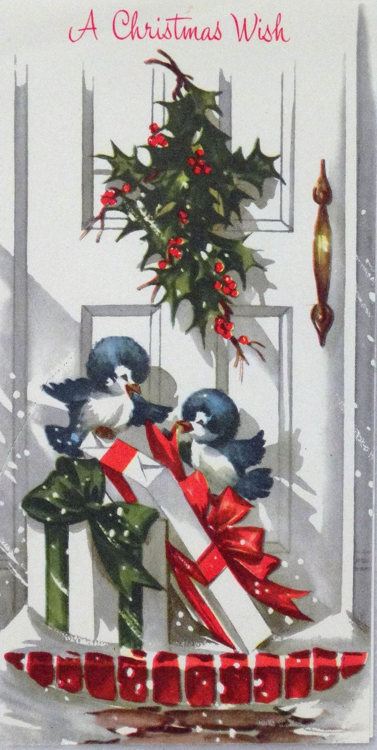173 50s Happy Bluebirds on The Porch Front Door Vtg Christmas Card Greeting | eBay