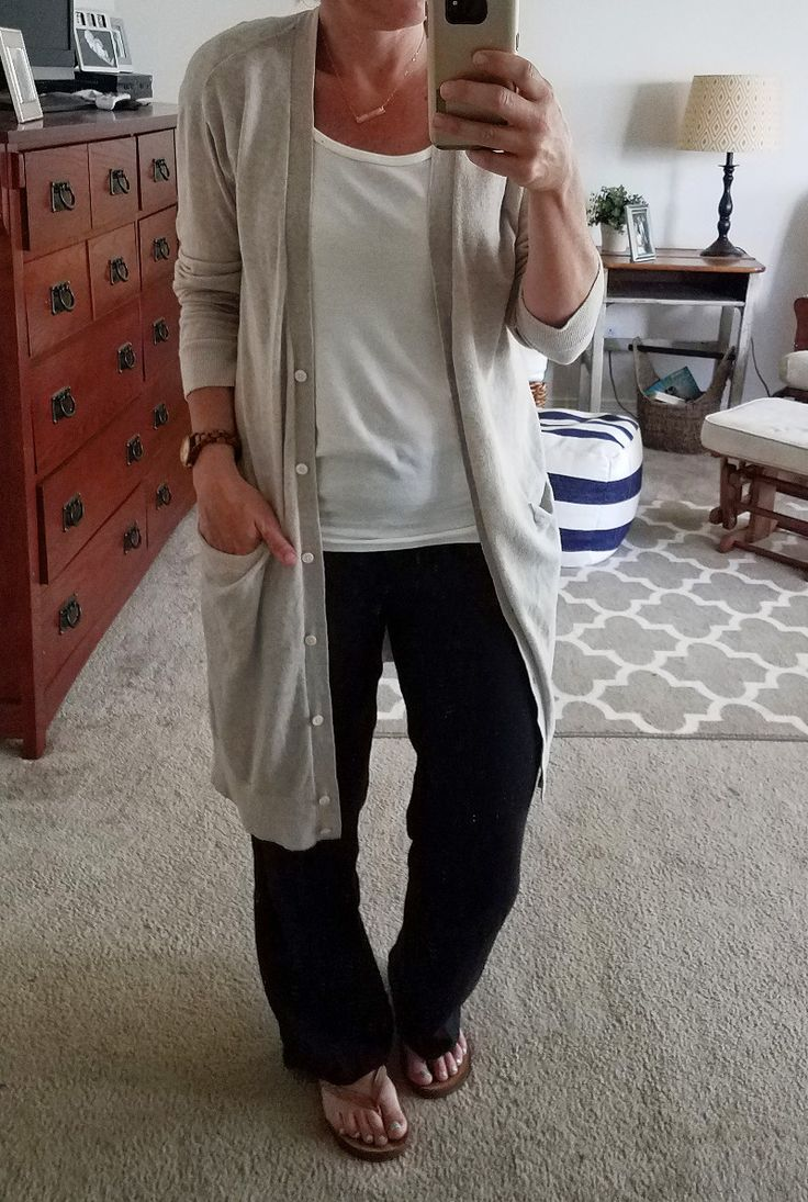 Summer Style Challenge 30x30: Outfit #7:white t-shirt+black linen pants+camel flip-flops+grey longline cardigan+gold necklace  - Style This Life. Summer Capsule Wardrobe 2017
