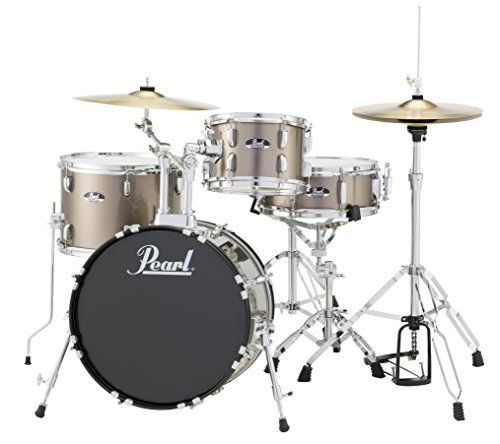 Pearl Roadshow drums are built with 9 ply 7mm Poplar shells and 1.2mm triple flanged hoops.  Comes with heads and double braced hardware.  Includes 16' crash-ride cymbal 14' hybrid hi hats maple d...