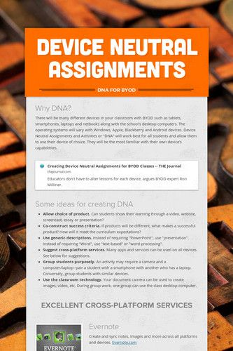 Device Neutral Assignments  (link to smore - flyer creator)