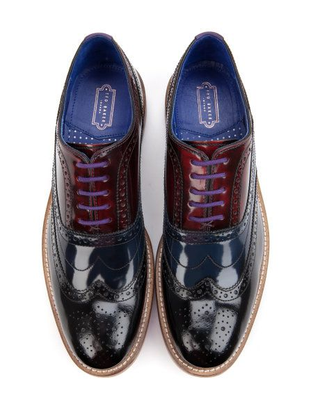 High shine oxford brogues - Navy | Shoes | Ted Baker