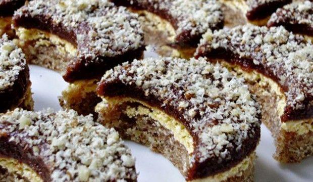 Ořechové cukroví s krémem a polevou