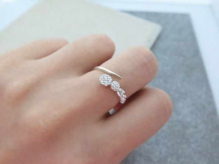 Stackable Ring/Delicate Sterlig silver Adjustable CZ Ring/CZ open ring/Dainty CZ ring/Dual Silver Ring/925 simple silver ring/Silver Ring by MinimalBijoux on Etsy
