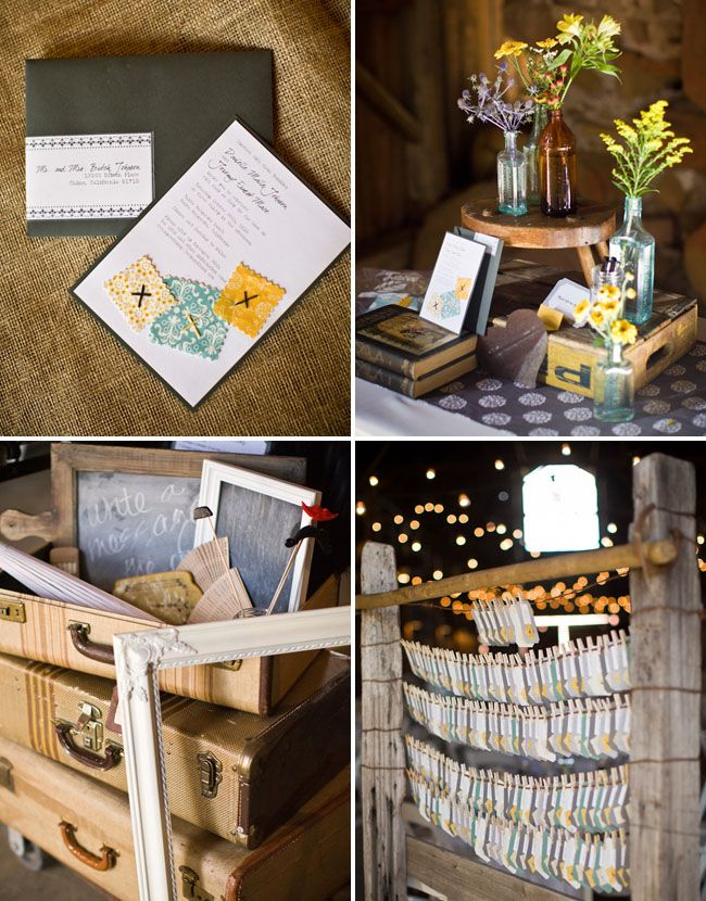 stacked vintage suitcases, centerpieces with vintage medicine bottles and soda crates and rustic escort card holder