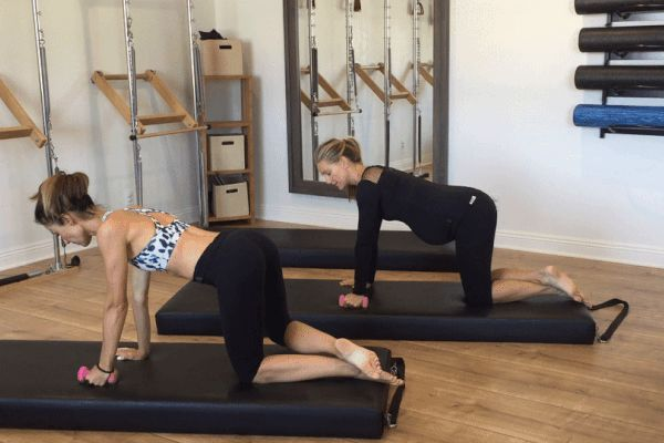 "Prenatal Pilates, part 1: Kneeling arm lift with ""Attitude"" 