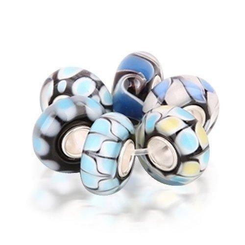Bling Jewelry Onyx Blue Topaz Color Murano Glass Bead Bundle Silver Fits Pandora