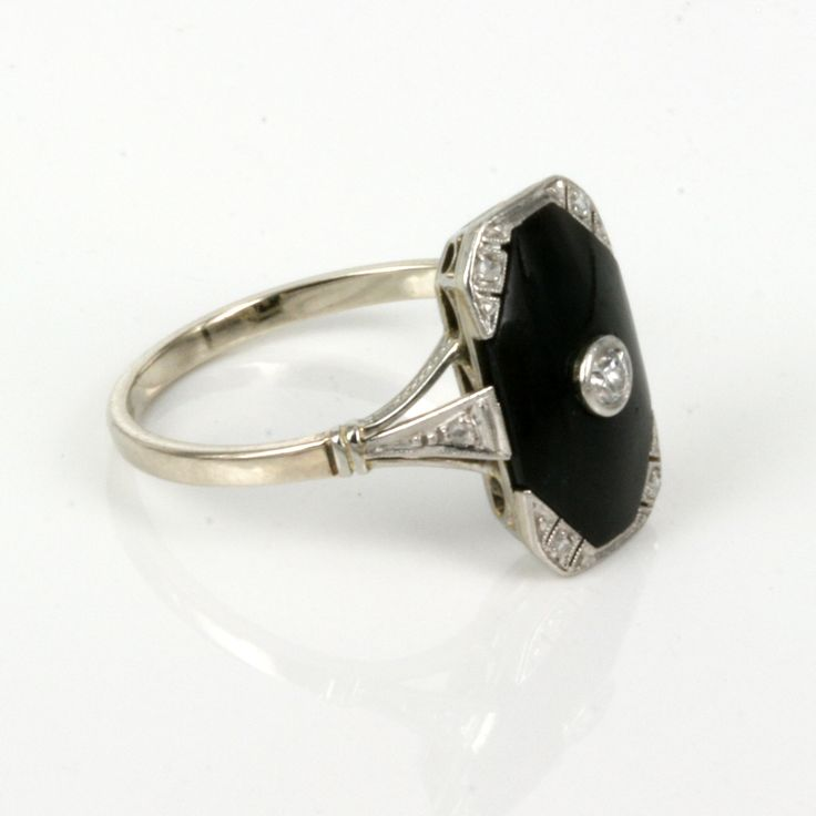 vintage black onyx rings women | 14ct & platinum Art Deco onyx and diamond ring.
