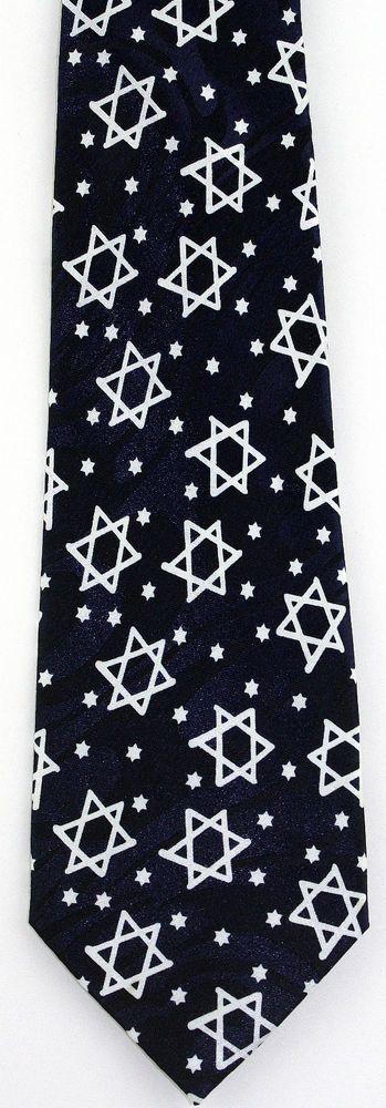 New Stars of David Mens Necktie Jewish Star Religious Holiday Blue Neck Tie #StevenHarris #NeckTie